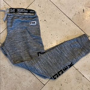 Pink joggers Sz M zip ankles charcoal